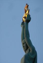 Folk maiden with three stars atop Freedom Monument in Riga, Latvia. November 8, 2013 (Aris Jansons) Tags: monument stars europe baltic latvia riga lettland rga latvija warofindependence baltikum freedommonument 2013 threestars krliszle