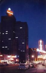 Main Street at Night Houston TX (Edge and corner wear) Tags: sign night vintage silver spur lights pc neon bright scene chrome tonight conoco