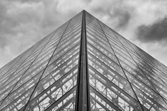 Louvre Pyramid (beancaker) Tags: bw paris france louvre silvereffex