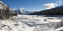 Clear & bright (CNorthExplores) Tags: park travel autumn lake snow canada mountains canon rockies jasper sunny canadian clear national alberta valley medicine maligne g11