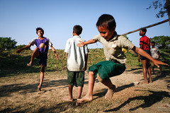Jump and kick (Lil [Kristen Elsby]) Tags: travel game jump jumping burma editorial myanmar recreation dailylife topv3333 kicking takraw rakhine travelphotography chinlone mrauku sepaktakraw rakhinestate myohaung mraukoo canon5dmarkii myanmar2013