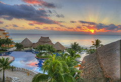 Sunrise at Cancun, Mexico (Simon__X) Tags: ocean travel cruise flowers blue sea vacation sky panorama sun mountain holiday seascape tree simon love beach nature water beauty sunshine clouds swimming sunrise landscape island coast harbor interestingness interesting sand rocks aqua flickr heart s