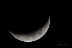 Waxing Crescent Moon (~17%) - February 3, 2014 (bechtelsf) Tags: moon nikon crescent crater nightsky phase lunar waxing nikon80400mm d7000