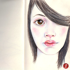 Schneewittchen (bornschein) Tags: winter red portrait woman white black moleskine girl illustration square illustratedface