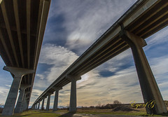 1 Architecture  Greg Thomas_.jpg (Eye of G Photography) Tags: road bridge usa field grass lines architecture places freeway northamerica washingtonstate skyclouds swinomish hwy20
