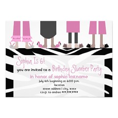 Girls Birthday Slumber Party Sleepover Zebra Announcement (nujenjai_zaza) Tags: birthday girls party slumber announcement zebra sleepover