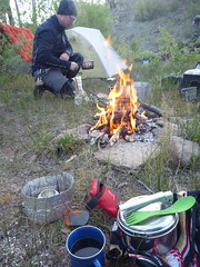 Morning Fire to Shake the Chill (RSpinnaKing) Tags: road party camp get oregon river out ride time rad bikes outback crooked gravel bikepacking velodirt randognar