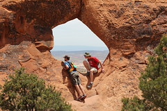 Partitioners (Jane Inman Stormer) Tags: nature utah nationalpark sandstone arch desert hiking hike moab through archesnationalpark
