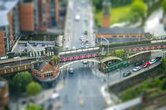 deansgate train set (0-1-6-1) Tags: uk manchester canal streetphotography trains deansgate tiltshift hiltonhotel beethamtower deansgatelocks atlasbar knotbar