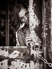 Halloween (Vincent F Tsai) Tags: portrait fashion halloween spooky scary creepy ghost girl abandoned door chain texture monochrome blackandwhite panasonic sigma 30mmf134 lumix gx8