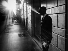 Roma - 2016 (Enzo D.) Tags: biancoenero blackandwhite streetphotography backlight cigarette italia italy man olympus roma rome shadow silhouette smoke street suit wwwenzodemartinocom lazio it