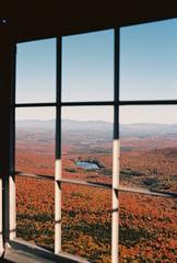 Rule of Thirds (Nsharp17) Tags: nikon nikonfe film 35mm kodak ektar ektar100 firetower mountain sprucemountain vermont foliage autumn fall red orange trees window