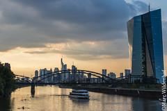 Frankfurt am Main EZB + Skyline (Marc Wildenhof) Tags: ezb bank frankfurtammain frankfurt reflections sunset sonnenuntergang brcke schiff hessen germany deutschland canoneos7dmarkii