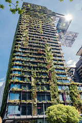 Vertical gardens and heliostat are part of Central Park, Sydney (Merrillie) Tags: building plants australia broadway city centralpark sydney newsouthwales nsw urban heliostat highrises gardens greenery architecture green livingwall vertical apartments