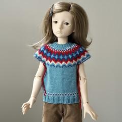 Icelandic Sweater in Progress (Jay Bird Finnigan) Tags: dt7 dollstown seola msd bjd knitting icelandic stranded fairisle miniature