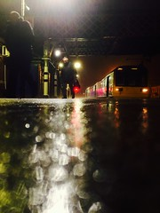 Rain, Rain, Rain (sjpowermac) Tags: rain storm stormangus angus delayed rainrainrain pacer class142 workers commuters platform wet bokeh railway station reflection miserable lattice footbridge adwick doncaster autumn 142118