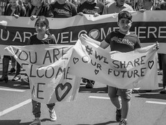 walk together adelaide - oct 2016 - 220130 (liam.jon_d) Tags: aussiessaywelcome realaustralianssaywelcome walktogetherwelcometoaustraliayourewelcomehere 2016 mono adelaide arty australia australian bw banner billdoyle blackandwhite celebration community communityevent event march monochrome multicultural parade peopleimset placard protest rally rallyingimset sa saywelcome sign signage southaustralia southaustralian walktogether walktogether2016 welcome welcometoaustralia