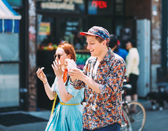 Colorful You (Calvin J.) Tags: vsco bokeh kensingtonmarket canada summer sunglasses dress redhead cute canon 5dmarkiii primelens pack03 icecream bokehlicious ef85mmf12lii city urban streetwear flowerprint toronto