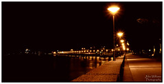 Foreshore at Night (juliewilliams11) Tags: riverfront photoborder outdoor night footpath lights newcastle newsouthwales australia reflection longexposure