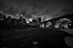 Stone Arch Bridge (Rupam Das) Tags: nikon nikkor d810 1024mm wideangle monochrome outdoor blackandwhite stonearchbridge minneapolis minnesota land landscape sky clouds evening light hiking flickrunitedaward