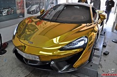 Gold Wrapped McLaren 570S with Armytrix Ceramic Coated Decatted Downpipes (vividracing) Tags: 570s 650s armytrix ceramic chrome decatted downpipes exhaust fitment gold mclaren performance powdercoated revs tuning wholesale wrapped