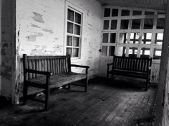 Beyond the point of no return. (somedesigner95) Tags: places photographer photography bnw blackandwhite room chairs oldhouse old lyrics radiohead