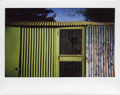 Find shelter (ale2000) Tags: instax instant instaxwide wide lomoinstantwide lomography analog analogue fuji shelter capanno riparo shack green verde lamiera sheet doors door porta shattered brokenglass