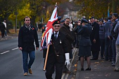 The Colours (Explored) (Steve.T.) Tags: remembranceday remembrance poppyday rbl royalbritishlegion veteran oldsoldier remembrancedayparade standardbearer unionjack remembrancesunday nikon d7200 proud beret sigma18200 parade witham essex medal