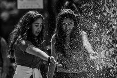 A day full of joy... or youth. (Christian S. Mata) Tags: nikon d5300 contrast city mxico alameda central black white girls water joy street photography