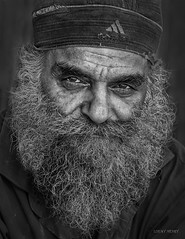 Street Portrait - Your visions will become clear only when you can look into your own heart. Who looks outside, dreams; who looks inside, awakes. (Louay Henry) Tags: nikon nikond610 d610 blackandwhite blackwhite monochrome man human people face homeless closeup urban india tamron streetlife streetphotography streetcandid candid candidportrait portrait portraiture beard mustache eyes oldman character lonely struggle tamron70200mmvc tamronsp70200mmf28vcusd