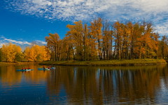 Doing it (stevenbulman44) Tags: fishcreek calgary canon 2470f28l lseries autumn fall color reflection cloud forest tree landscape orange paddleboard