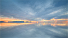 Great Lake / Sunset (Young Ko) Tags: nature blue yellow nikon flickr landscape amazing awesome atmosphere sky composition reflection interesting sun nsw cloudy overcast clouds longexposure light sunset water minimalism greatlakebootibootitiona bootibooti tionansw