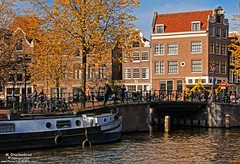 An Amsterdam Pano at the Herengracht, Jordaan (PhotosToArtByMike) Tags: herengracht amsterdam herengrachtcanal netherlands bikes dutch holland canalboat houseboat canal canalring grachtengordel canalhouse