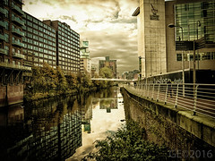 The River irwell at the side of the Lowry Hotel (garethendsor7771) Tags: salford manchester lowry river hotel panasonic g7 birds lightroom adobe photoshop moody reflection