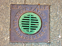 S.F. Artificial Stone Paving Co., San Francisco, CA (Robby Virus) Tags: sanfrancisco california sf ca sewer vent cover sidewalk cement concrete pavement metal access cal artificial stone pav paving co company montgomery street