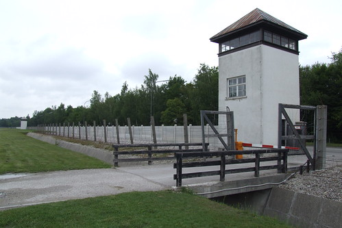 Fencing and tower of the Dachau concentration camp, 06.07.2012.