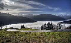 Sea of fog in the Prttigau (PeterThoeny) Tags: switzerland swissalps graubnden grisons prttigau schuders schiers mountain mountainside hdr 2xp raw nex6 selp1650 photomatix day cloudy fog seaoffog qualityhdr qualityhdrphotography outdoor fav100