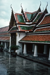 Rain, Wat Phra Keo temple, Bangkok (1982) (Duncan+Gladys) Tags: thailand bangkok enhanced th