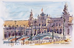 Sevilla: Plaza de España (P.Barahona) Tags: sevilla acuarela jardines calles rotulador