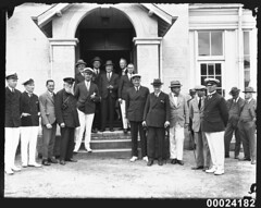 Men in civilian and maritime dress standing outside the entrance to the Royal Sydney Yacht Squadron building (Australian National Maritime Museum on The Commons) Tags: yacht sydney yachting kirribilli backhouse rsys yachtingclub frankalbert royalsydneyyachtsquadron hoodcollection samueljhoodcollection openingyachtseason alexisalbert davidcarment judgealfredpaxtonbackhouse davidshallardcarment