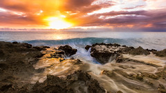 Hole in the Earth (Rhian.C) Tags: sunset seascape landscape islands rocky grand cayman ironshore