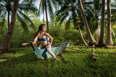 mermaid lane (karlhans) Tags: sunset sexy grass boat model philippines jeans lane sit cebu filipina argao