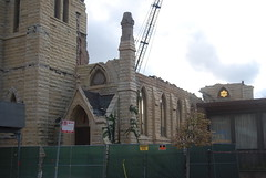 "St. James Catholic Church Demolition, 9/2/13 (artistmac) Tags: city urban chicago history stone ball flying illinois catholic arch destruction south side failure shortsighted gothic demolition steeple il neighborhood spire nave southside adapt wrecking rectory buttresses apse archdiocese cruciform ball"" stjamescatholicchurch"