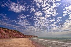Sweeping Clouds (pollylew) Tags: sea sky sun clouds sand isleofwight sandown yaverlandbeach