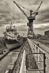 Dry dock.. (Ken Brooke) Tags: uk port blackwhite nikon industrial moody tint shipping drydock teesside tees d700