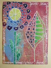 flowers and leaves (witt0071) Tags: acrylic mixedmedia postcard sharpies ihanna gelli