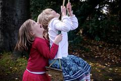 look up (kevinandmclean) Tags: family pink winter girls friends white children fun scotland edinburgh smiles laughter portobello midlothian