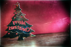 Right Behind Christmas (hbmike2000) Tags: christmas old red holiday color macro tree texture metal closeup vintage typography one nikon holidays angle scratches christmastree dirty backwards string wetplate behind christmasornament d200 dust minimalism scratched vignette minimalist hdr catchingup hoya dutchangle odc closeuplens niksoftware hbmike2000 analogefexpro analogefex flickr12days