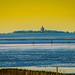 Herbstliche Abendstimmung im Wattenmeer - Die Insel Neuwerk  vor der Elbmündung, Blick von Cuxhaven-Döse