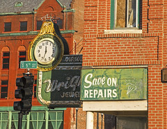 WRIGHT CLOCK (FotoEdge) Tags: city sunset shadow red signs green sunshine sign corner vintage ancient midwest iron downtown neon industrial stu unitedstates steel bricks memories rusty stjoseph bluesky olympus textures faded missouri americana wright roadside crusty cracked relics rivertown saintjoseph omd winterlight crumbling 5thstreet relic em1 rustycrusty stjoe midwestern midmissouri midwesttowns fotoedge nwmissouri wwwfotoedgecom bobtravaglione midwesternserenade microfourthirds omdem1 olympusomdem1 copyright2013 wrightclock